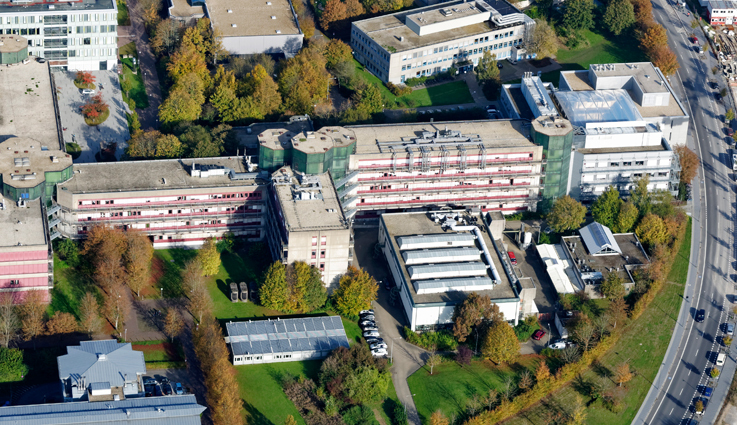 Image of the Institute of Technical and Macromolecular Chemistry taken from an airplane